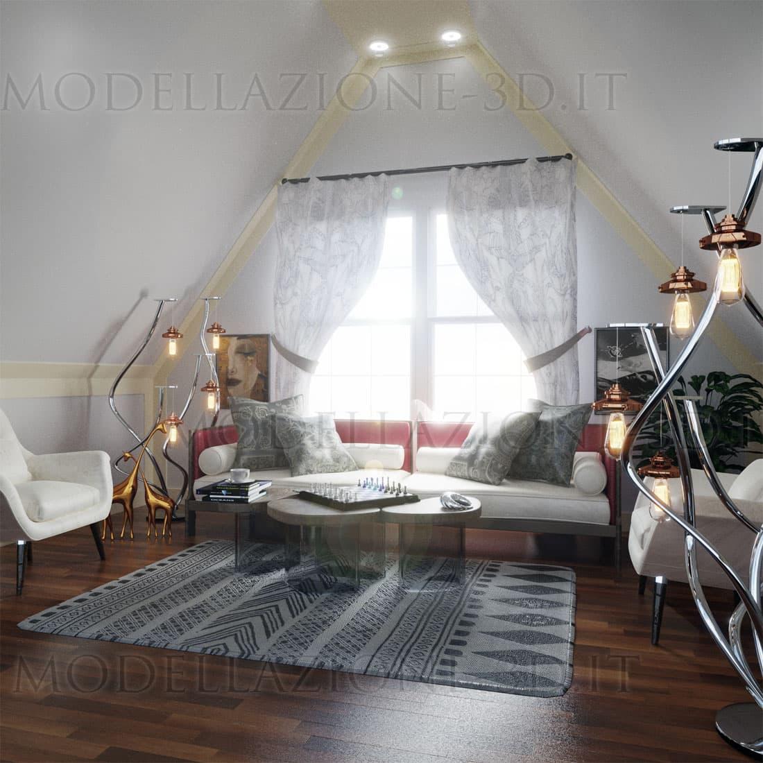 Ambientazione soggiorno in vecchia soffitta 3D