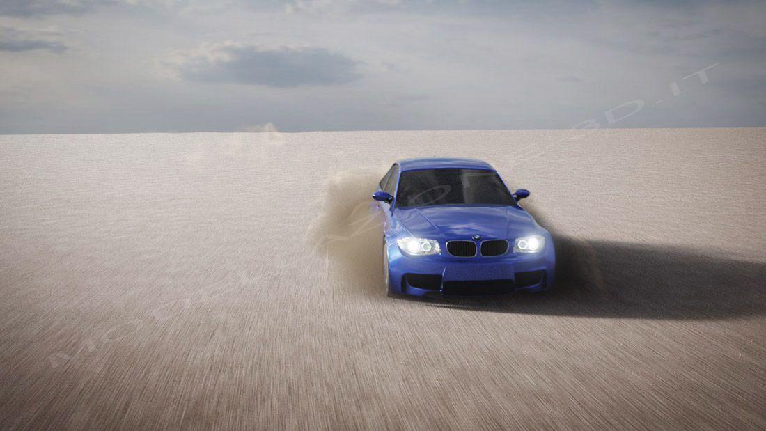 Simulazione polvere auto nel deserto
