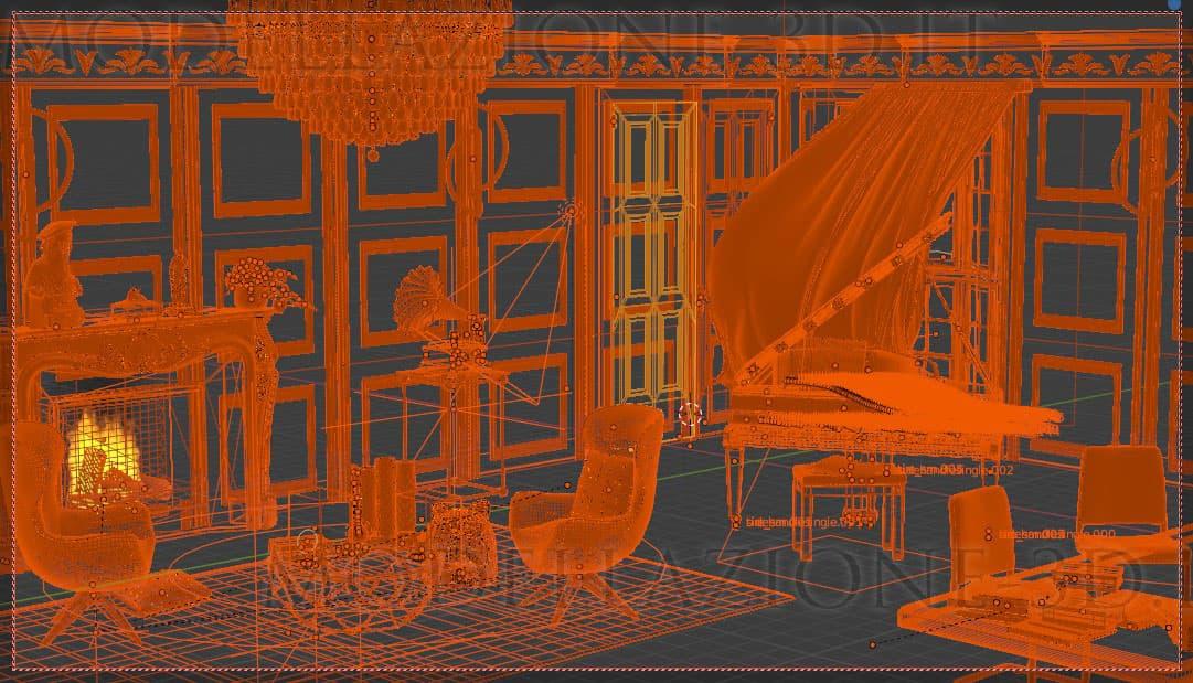 Animazione 3D interno stile classico