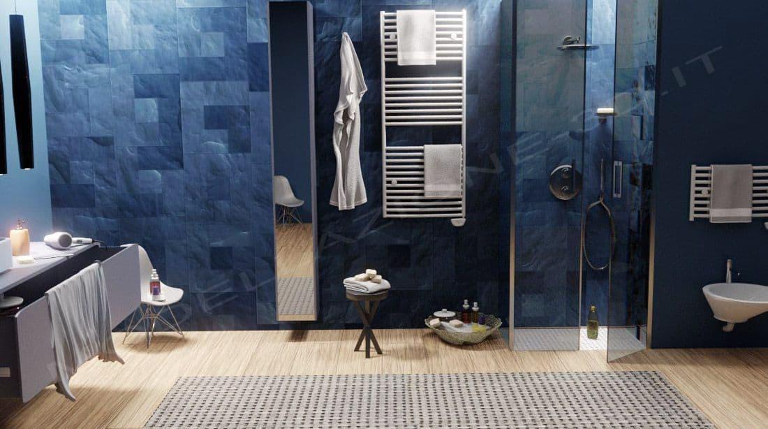Bagno moderno con doccia a filo render fotorealistico modellazione 3d - Pavimento bagno moderno ...