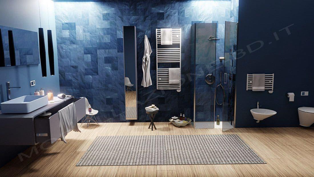 Bagno moderno con doccia a filo render fotorealistico modellazione 3d for Bagno moderno con doccia
