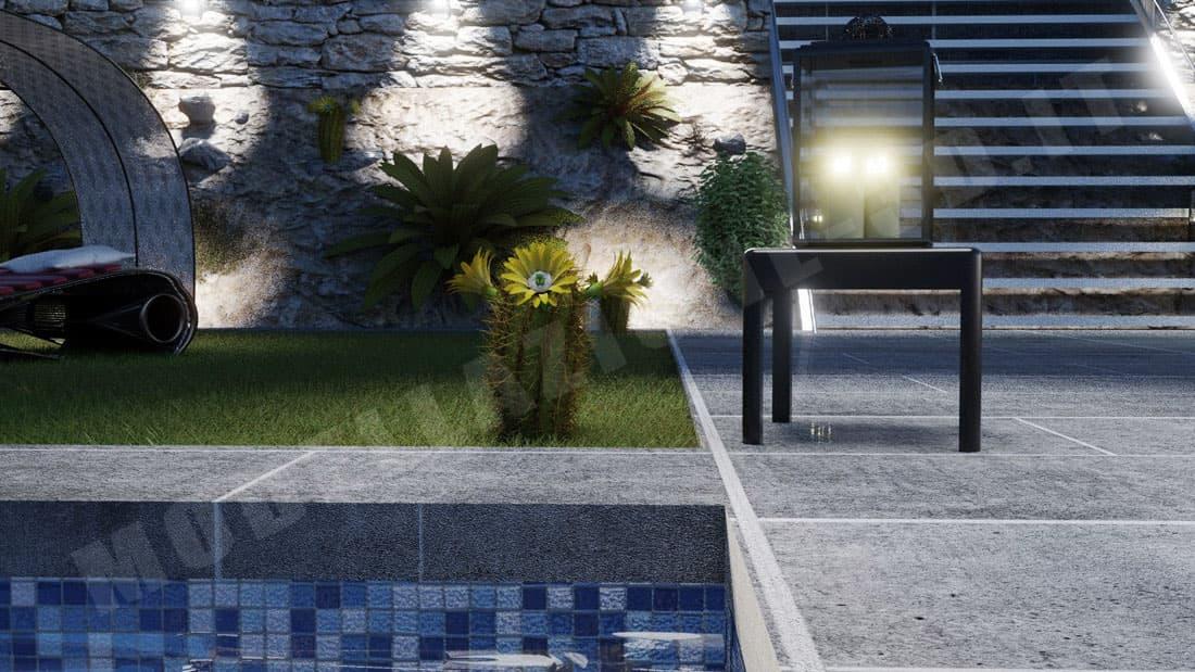 Ambientazione giardino con piante grasse di villetta