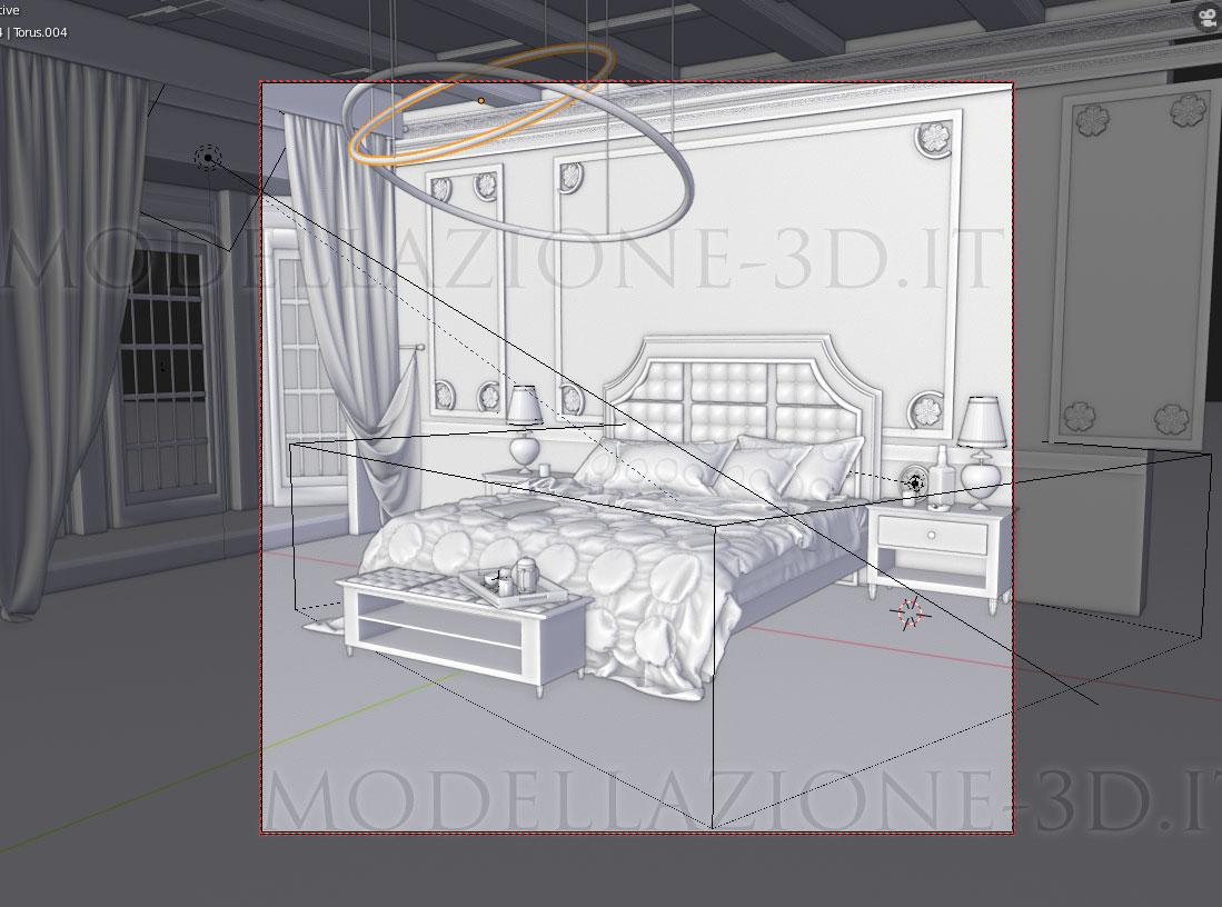 Scorcio camera da letto lusso