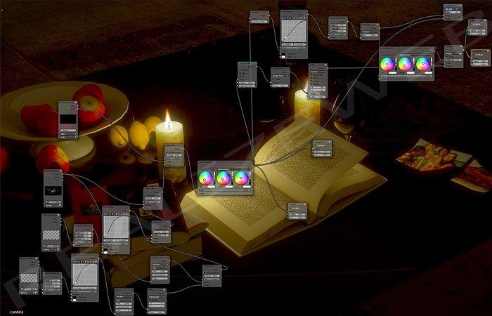 Composizione interna lume candela