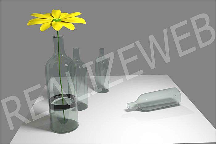 Bottiglie con fiore