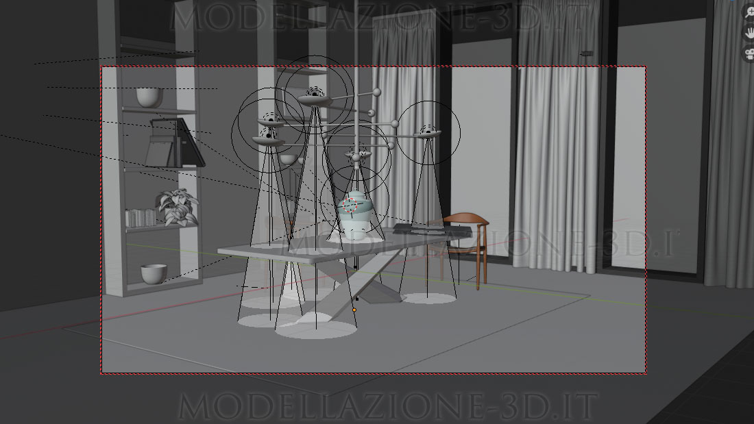 Design interni angolo appartamento su skyline con paesaggio ricreato dentro un vaso