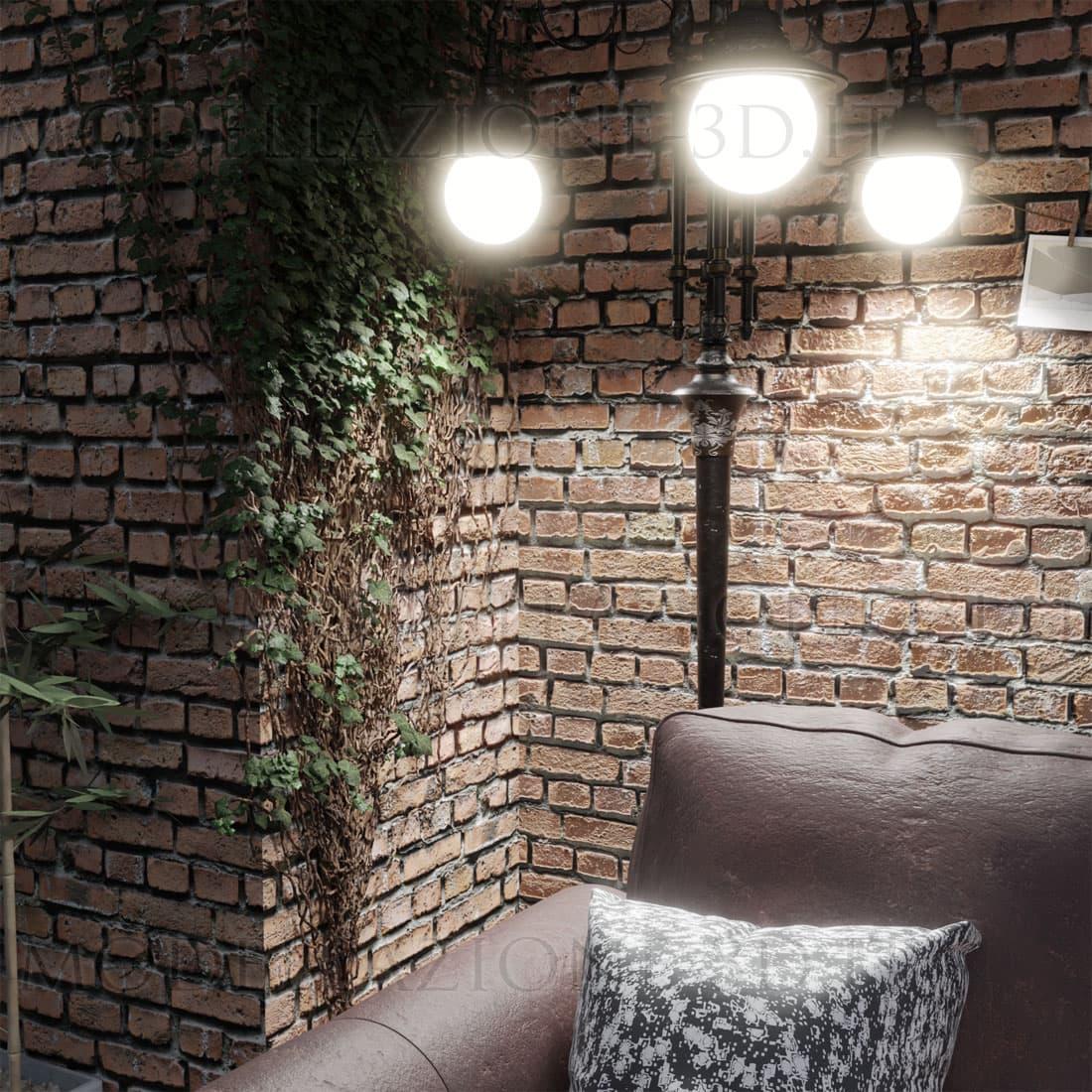 Angolo interni muro mattoni divano in cuoio