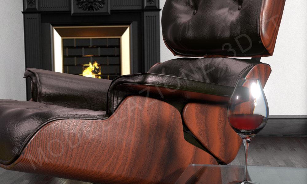 Poltrona Eames Lounge modellazione e render 3D