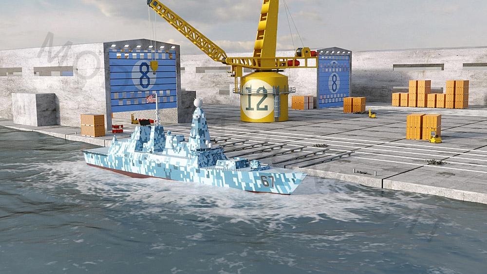 Varo nave militare fregata in mare 3D