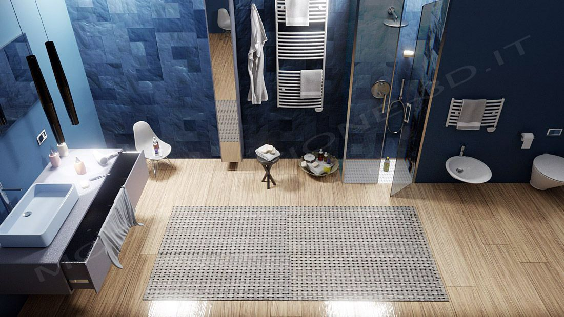Bagno moderno con piatto doccia a filo pavimento