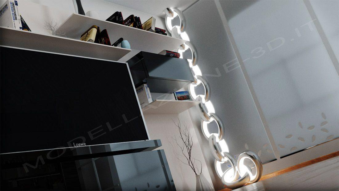 Scena interni lampada a catena