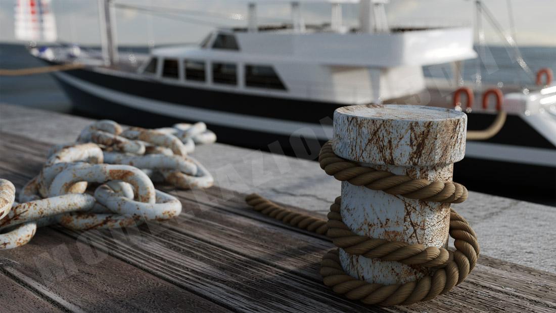 Gomena ormeggio yacht al molo 3D