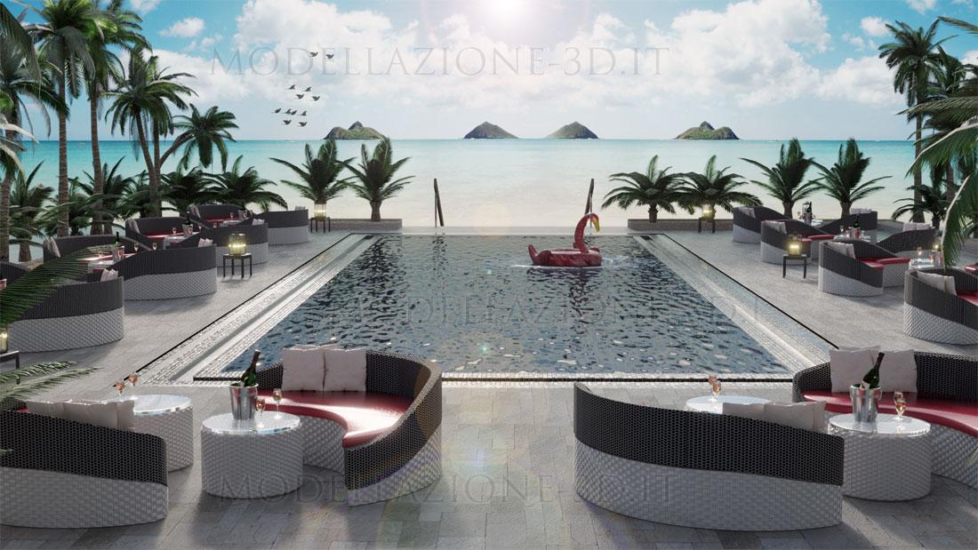 Ambientazione bar attorno piscina lungomare 3D