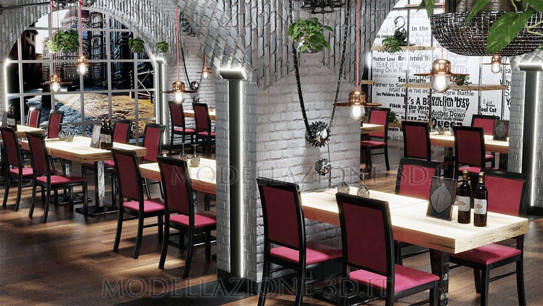 Design interni sala da pranzo ristorante 3D