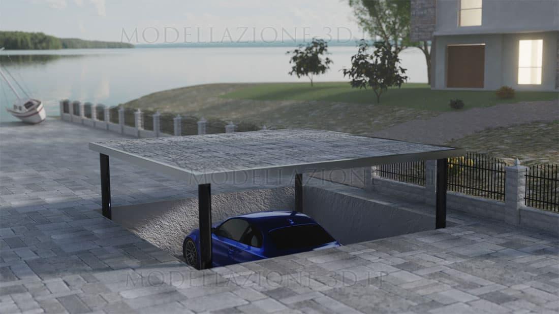 Parcheggio interrato con elevatore villa 3D