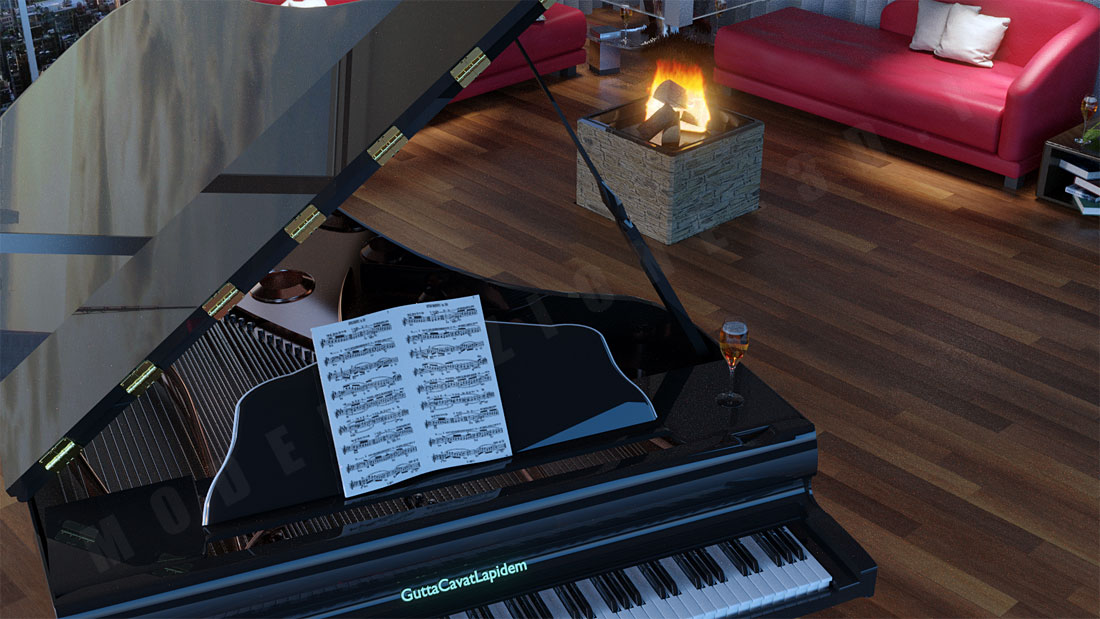 Piano a coda ambientazione in living New York 3D