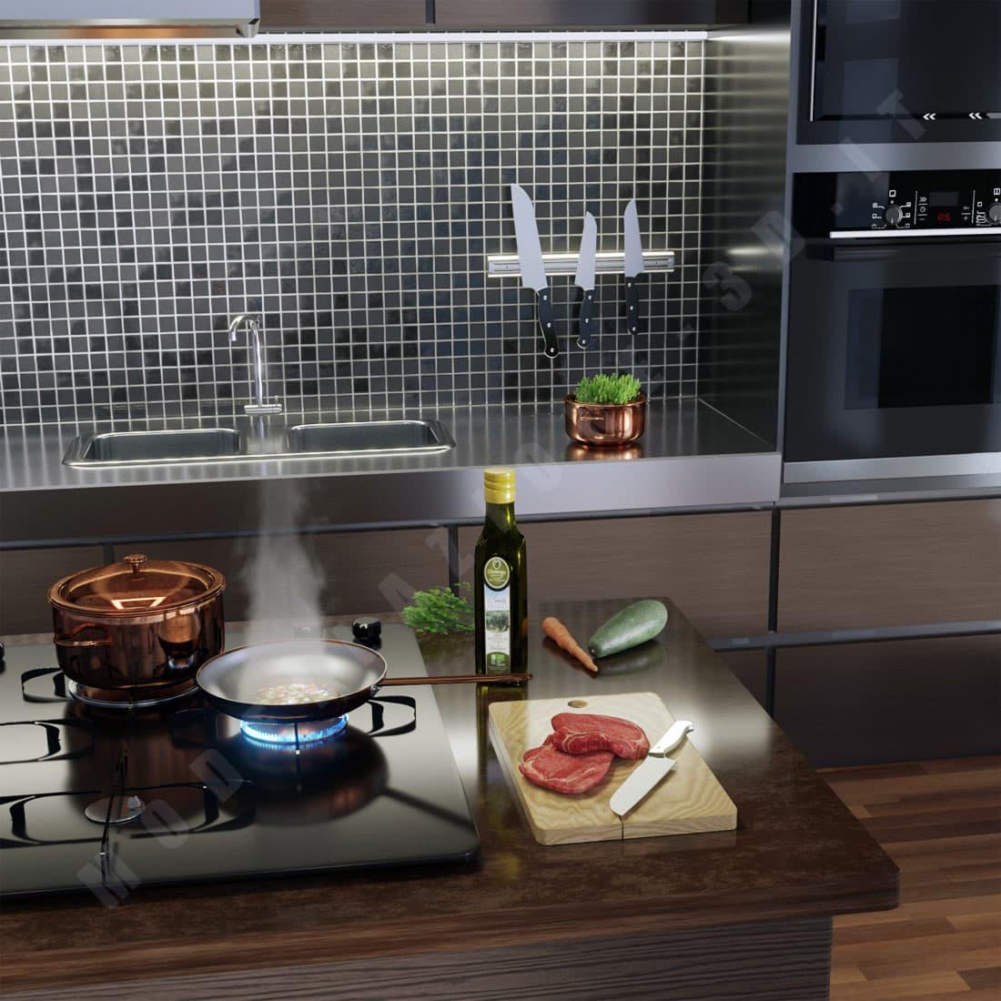 Packaging bottiglia di olio ed ambientazione in cucina moderna