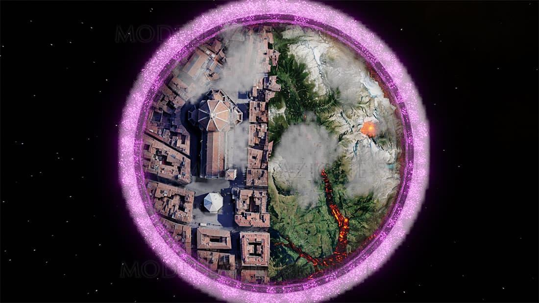 cattedrale di Santa Maria del Fiore e scorcio alpino in una sfera di cristallo