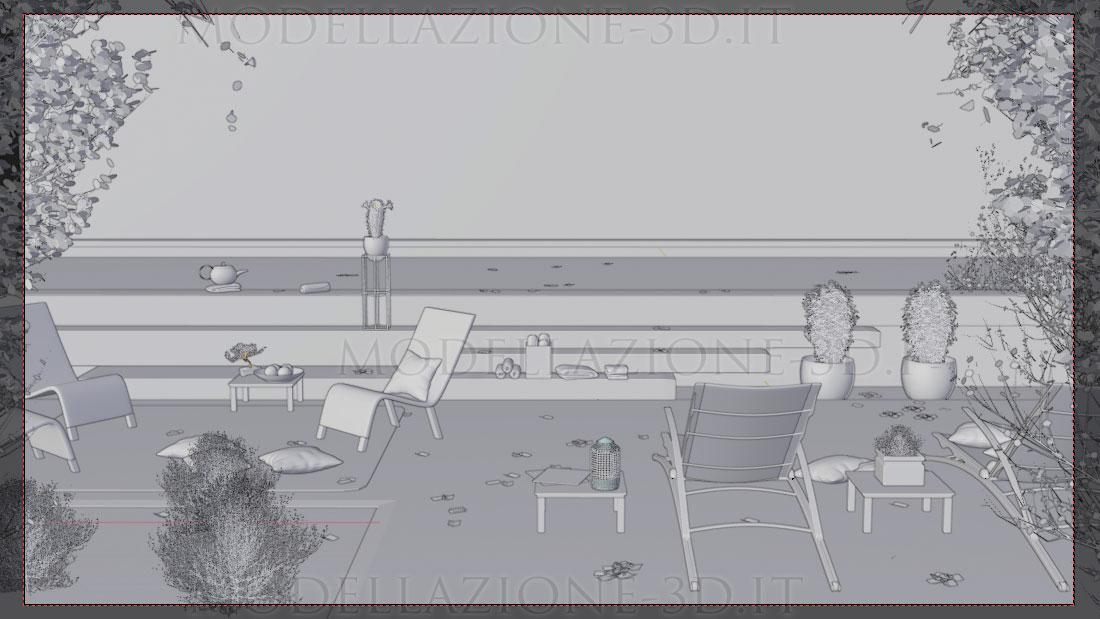 Piscina ambientazione skyline Londra 3D