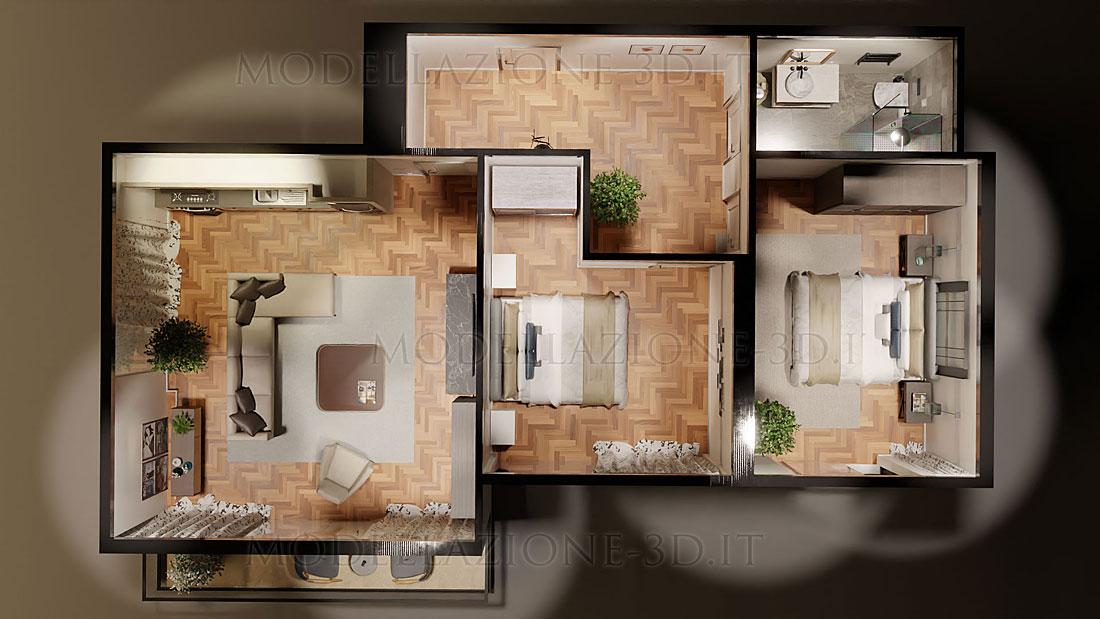 Visione 3D appartamento immersiva a 360°