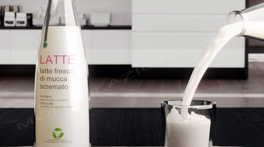 Scena cucina con bottiglie di latte