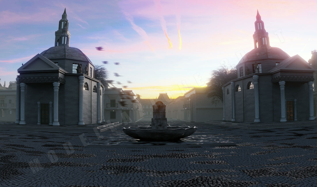 Scena aziendale con chiese gemelle, fontana e pavè 3D