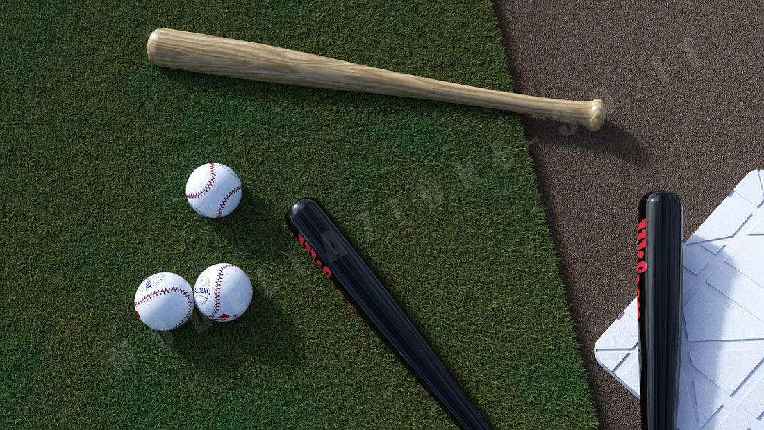 Set palla da baseball ed ambientazione