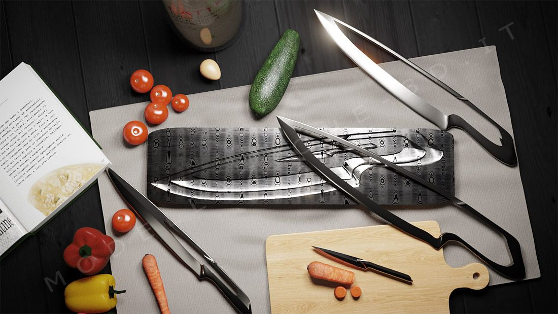 Set coltelli componibili ed ambientazione