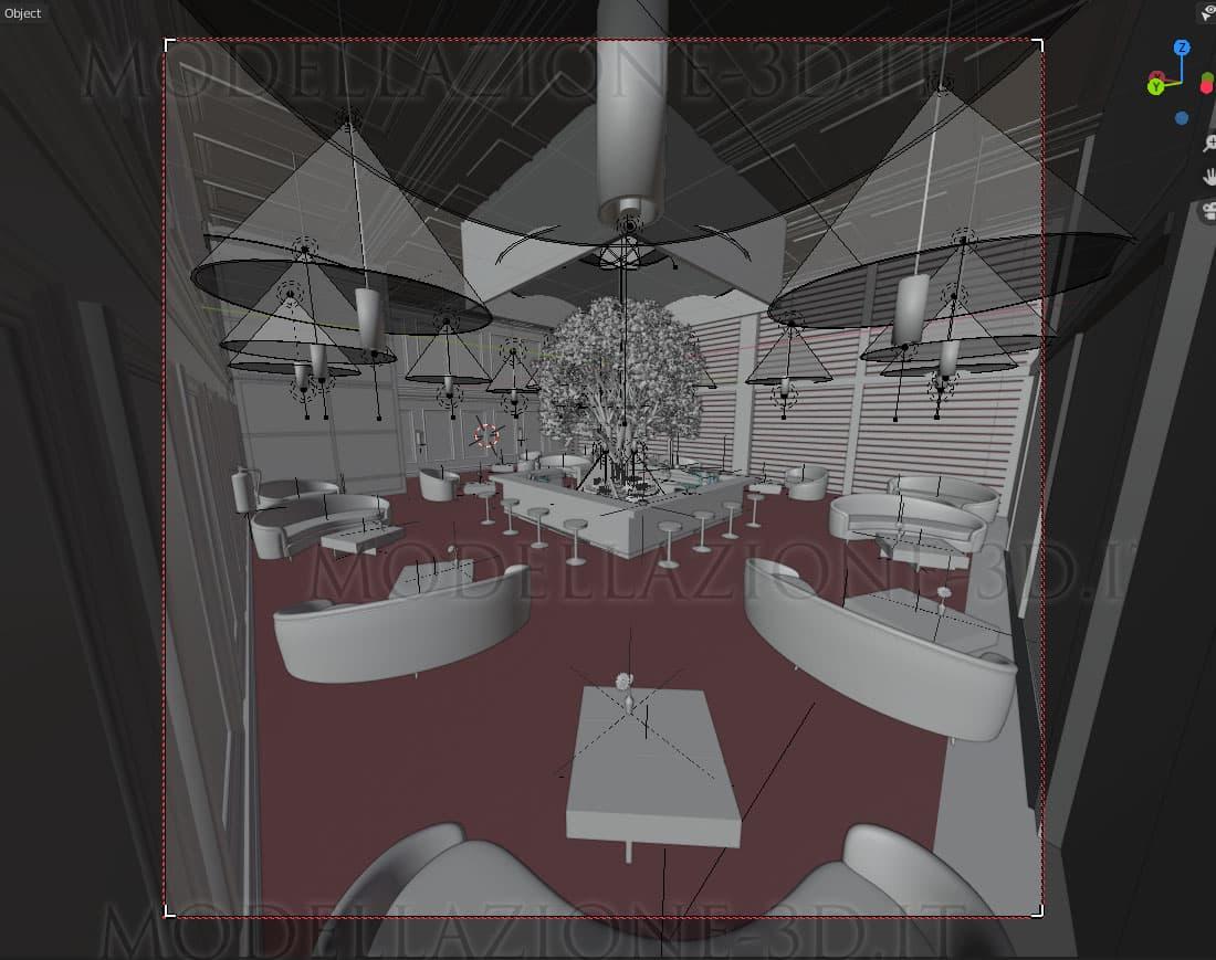 Lounge Bar concept con grandi vetrate ed albero ornamentale