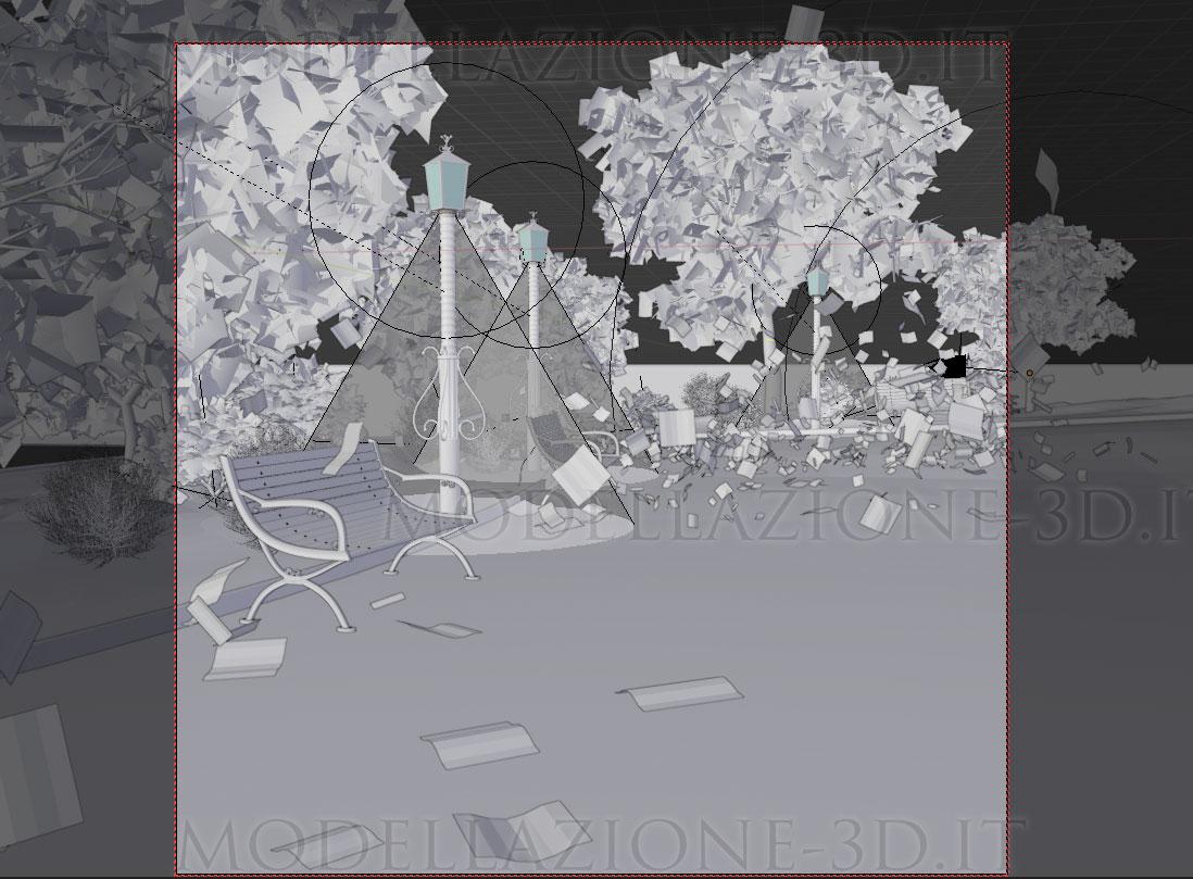 Scena giardino pubblico in autunno con foglie al vento 3D