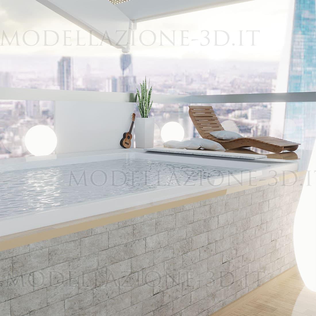 Terrazza con vista sulla skyline con vasca idromassaggio