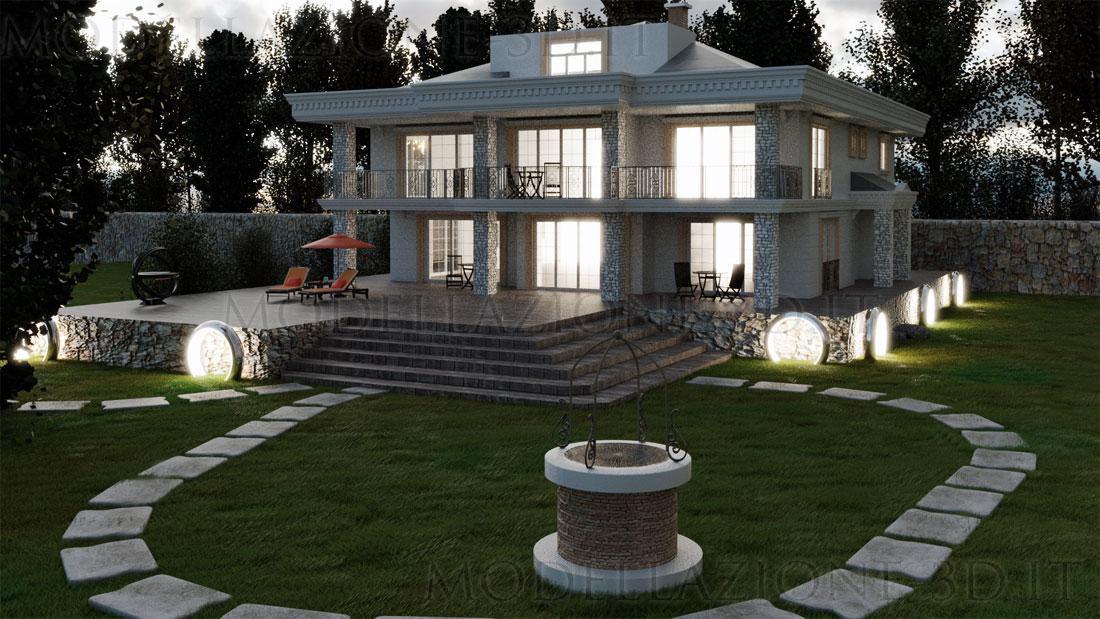 Villa con giardino 3D