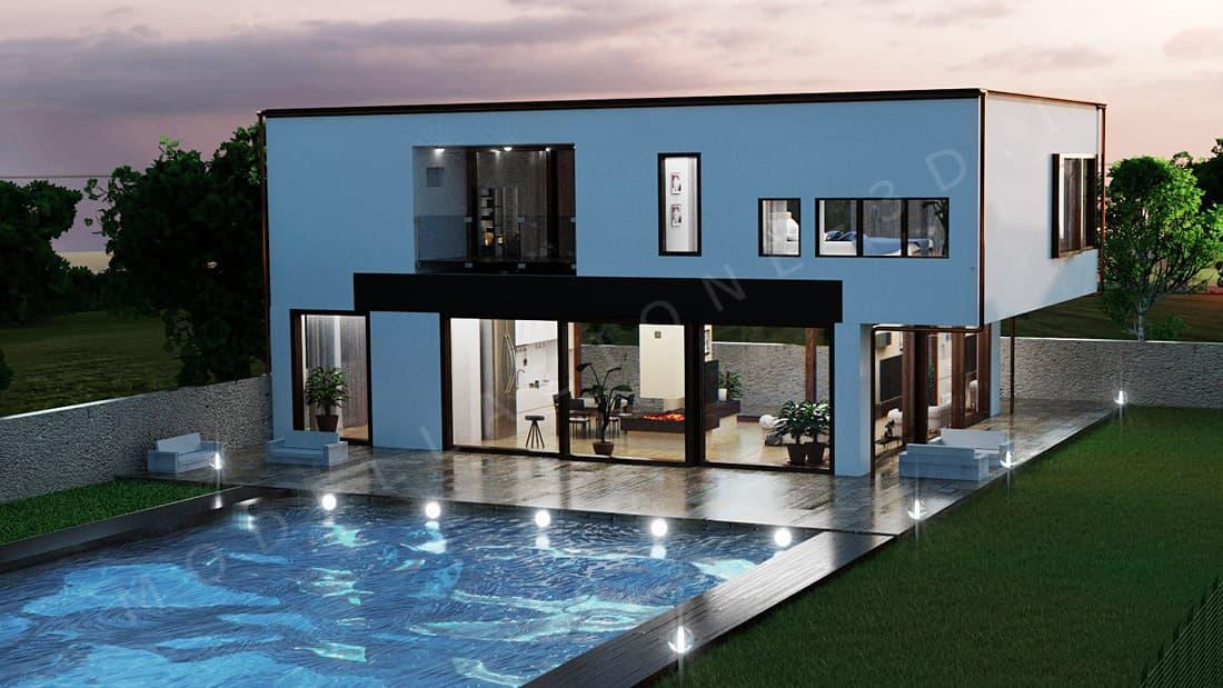 Perfect villetta stile moderno d with villetta moderna for Portico laterale in stile casa in stile charleston