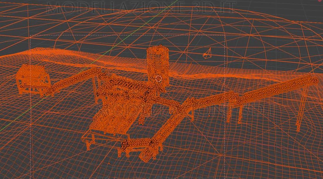 Modellazione 3D ed animazione impiant lavaggio estrazione oro