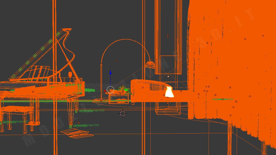 Piano a coda ambientazione in living New York 3D