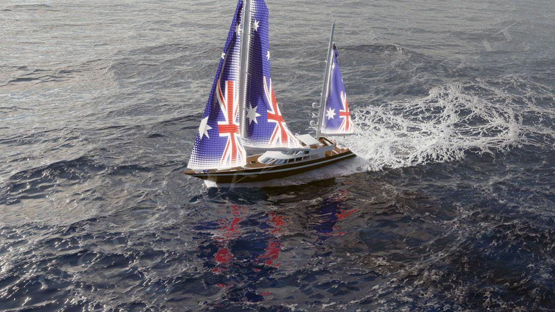Yacht a vela in navigazionea