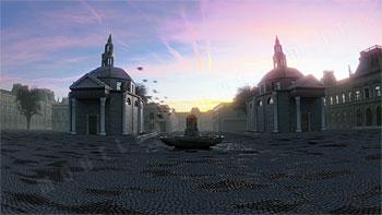 Ambientazione cittadina di chiese gemelle con fontana su superficie in pavè