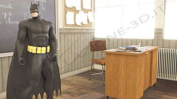 Scena immaginaria con Batman 3D in una classe