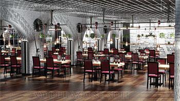 Interior design sala da pranzo ristorante 3D