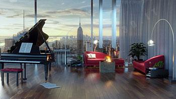 Piano a coda ed ambientazione in living New York