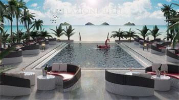 Ambientazione bar attorno piscina lungomare