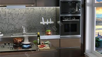 Packaging bottiglia di olio ed ambientazione in cucina stile moderno