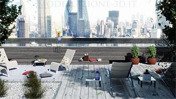 Piscina con vista su skyline Londra 3D
