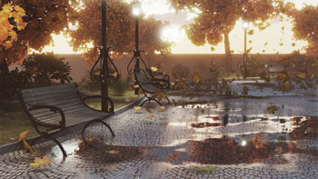 Scena giardino pubblico in autunno foglie e pioggia 3D